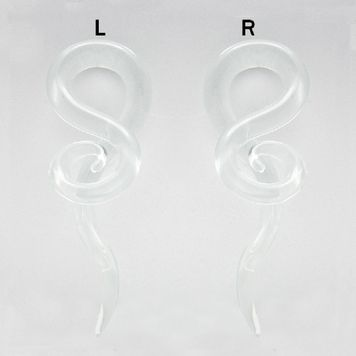 Pair of Glass Tapers Single Twist Clear Pyrex with Spiral End 00ga 7/16