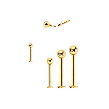 Push in Monroe Labret 14kt Solid Yellow Gold 16 Gauge 3mm Ball - Sold Each