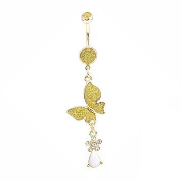 Gold Ion-Plated Butterfly Belly Button Ring with White Rock
