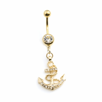 Gold IP Anchor Dangling Multiple CZ Belly Button Ring 14ga 3/8 inches