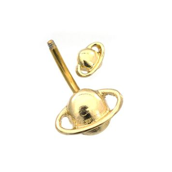 Gold Plated Orbit Fixed Design Belly Button Ring 14ga Surgical Steel