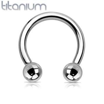Grade 23 Solid Titanium Horseshoe with Balls - Sold Each