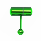Vibrating Tongue Ring 14GA Anodized Steel Green