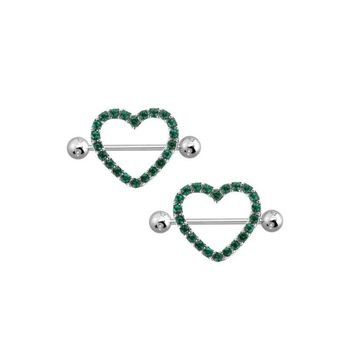"Green Gem Paved Heart Nipple Shield Ring Piercing jewelry 14 Gauge 3/4"" Length"