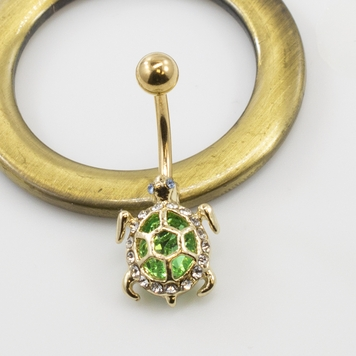 Green Turtle Design Belly Button Ring Multiple CZ Gems 14G