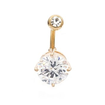 Large Clear Cz Rose Gold IP Belly Button Ring 14ga 3/8- 10mm