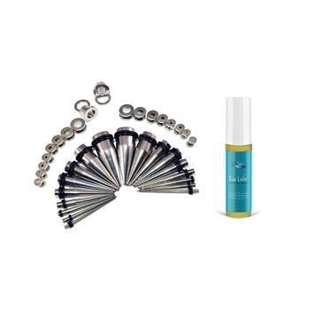 36 Pieces Ear Stretching Kit - Surgical Steel Tapers & Screw Fit Plugs &PCARE SOOTHING LUBRICANT