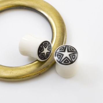 Pair of Organic Horn Bone with Star Design Plugs