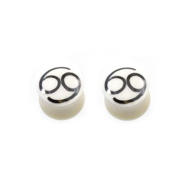 Pair of  Organic Horn Bone Number 69 Design Ear Plugs