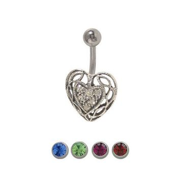 14 gauge Heart Belly Ring Surgical Steel with Jewels