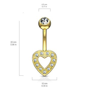 Heart Charm Clear CZ 14 Karat Solid Gold Belly Button Ring 14ga