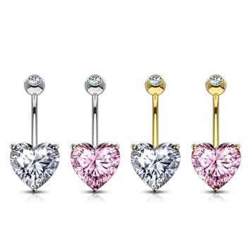 Heart CZ Prong Set 14 Karat Solid  Gold Belly Button Ring 14ga
