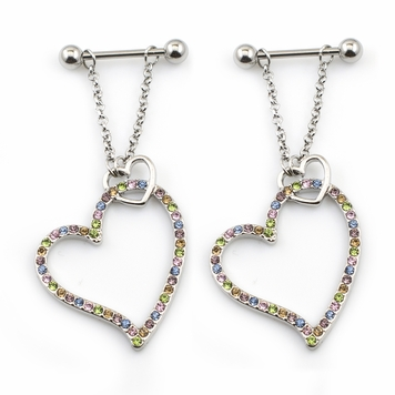 Pair of 14G Nipple Shields Heart Dangle Design Surgical Steel