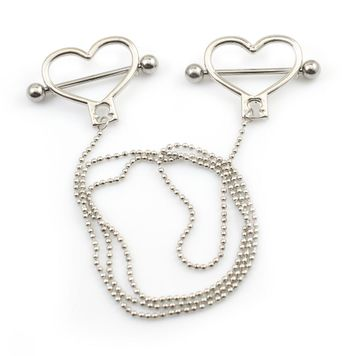 "Heart Shield Nipple Barbells with 18"" Ball Chain 316L Surgical Steel 14g"