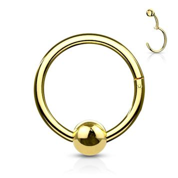 Hinged Hoop Clicker Segment Ring with Fixed Ball for Ear Cartilage and Septum 16ga Surgical Steel Sold Each
