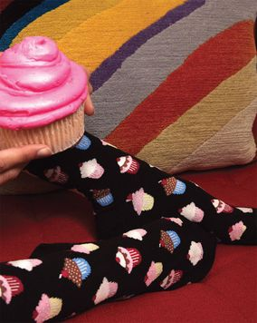 Pair of  Cupcake Design Crew Socks