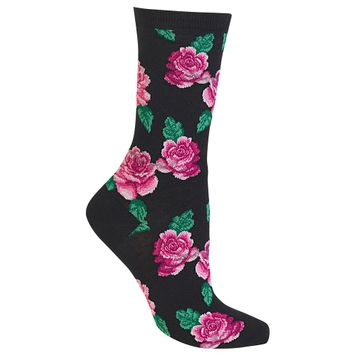 Pair of Rose Print Crew Socks