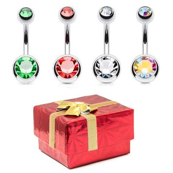 Holiday Gift Set - 14ga High-Polish Assorted CZ Gem Belly Rings - 316L Surgical Steel + Gift Box