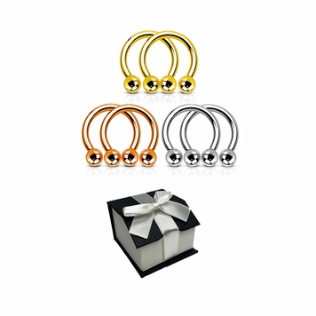 Holiday Gift set 3 pairs of circular Barbells can you be used almost in all piercing available in 14 gauge and 16 Gauge + Git Box