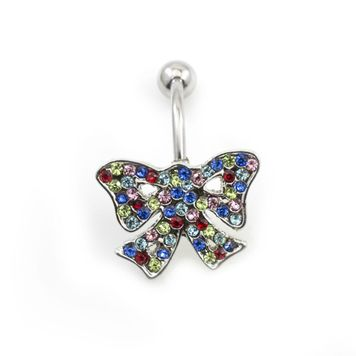 Holiday Reverse Belly Ring - Ribbon design - 14ga 316L Surgical Steel and Multiple CZ Gems