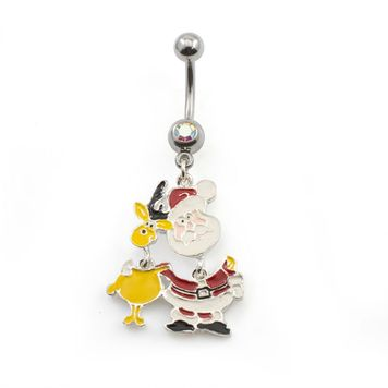 Holiday Santa Belly Ring with Reindeer Dangle - 14ga 316L Steel w/Opal CZ Gem