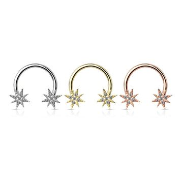 Pair of Crystal Paved Starburst Ends 316L Surgical Steel Circular Barbell/Horseshoe for nipples