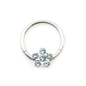 Flower Design CZ Hinged Segment Hoop Ring 16ga