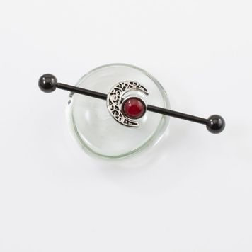Industrial Barbell Red Opal and Moon Charm 14ga