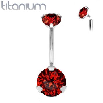 Implant Grade Titanium Internally Threaded Top Prong Set Double Round CZ Belly Button Navel Ring 14ga Sold Each