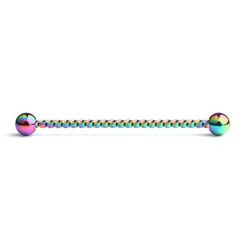 Braided Design Anodized  Industrial Barbell 14ga Surgical Steel- Sold Each
