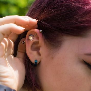 Industrial Barbell Piercing with Moon Design 16G