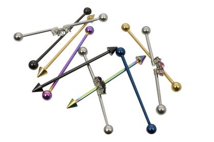 Pack of 10 Industrial Barbells Three Assorted Designs Surgical Steel 14ga