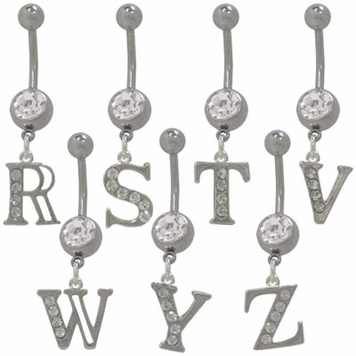 Initial Dangler (14 gauge)Belly Rings with CZ Jewels