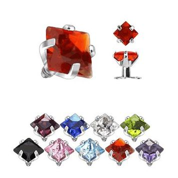 Internally Threaded Prong Set Square Gem Dermal Top