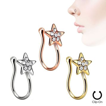 Ion Plated Star Nose Clip with Clear CZ Gems -Sold Each