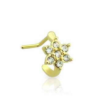 Ion plated surgical steel nose ring Crowler Flower Gem flower design
