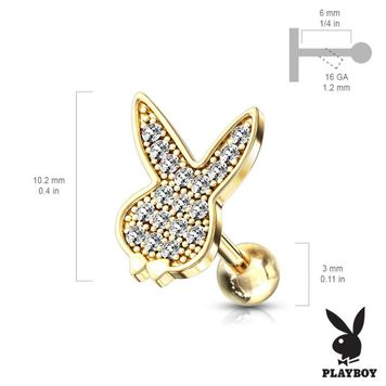 Micro CZ Paved Playboy Bunny Top Surgical Steel Barbell Studs for Ear Cartilage, Tragus and More 16ga - Sold Each