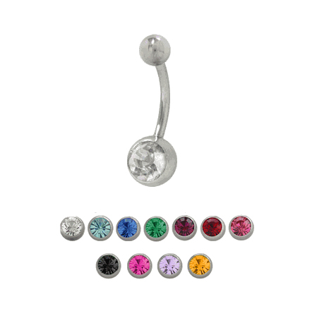 """Belly Button Ring Clear Double Jeweled 14g 7//16/"""" Surgical Steel"""