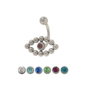 14 gauge Jeweled Belly Ring Surgical Steel