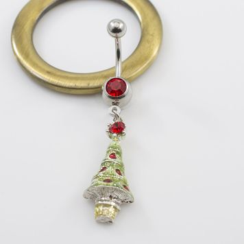 Jeweled Christmas Tree Belly Ring