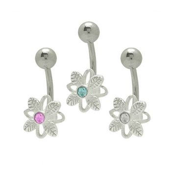 14 gauge Jeweled Flower Belly Button Ring