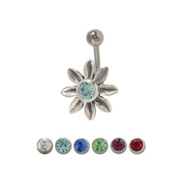 14 gauge Jeweled Flower Belly Ring Surgical Steel