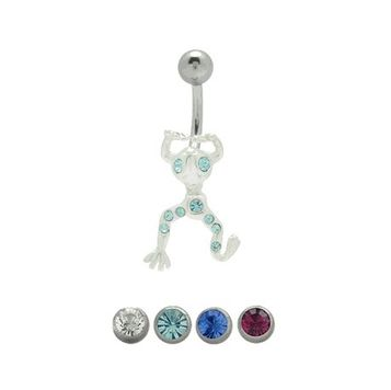 14 gauge Jeweled Frog Belly Barbell