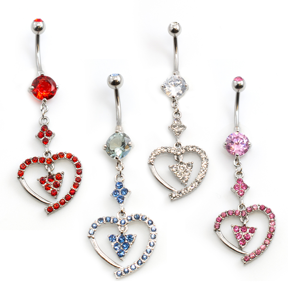 Jeweled Heart & Prism Dangle Belly Button Ring 14ga 3/8 inches- Sold Each