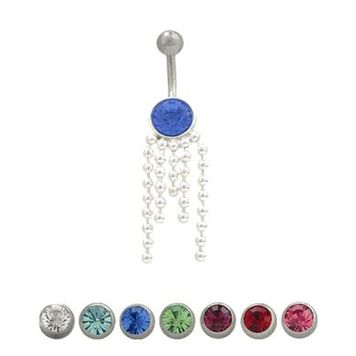14 gauge Jeweled Navel Ring with Dangle Chains