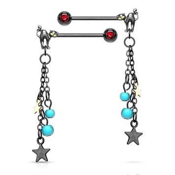 Pair of Cat with Turquoise Beads and Star Dangle Design Nipple Barbells Surgical Steel 14ga