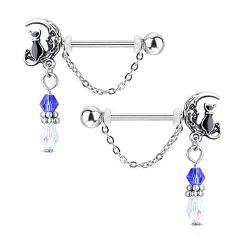 Pair of Cat Sitting on Moon with Beads and Chain Dangle Design Nipple Barbells Surgical Steel 14ga