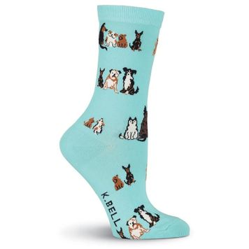 Pair of  Dogs Sitting Crew Socks