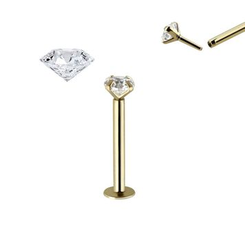 Labret Push in 14K Gold with Real 2.5mm Diamond threadless can be use Nose Ear Lip and more