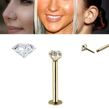Labret Push in 14K Gold with Real 2mm Diamond threadless can be use Nose Ear Lip and more